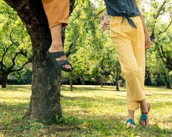PREORDER- Bright yellow cotton pants, comfort pant, ankle lenght, elastic pants with pockets, made to order