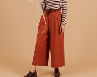 Pumpkin orange wool Wide Leg Pants, Belt loops zipper, palazzo pants, pleated wide leg trousers, maxi pants