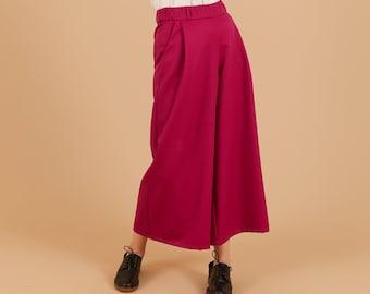 Fuchsia wool Wide Leg Pants, Belt loops zipper, palazzo pants, pleated wide leg trousers, maxi pants