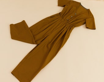 PREORDINE- Jumpsuit in golden brown cotton, short sleeves overall, v neck, romper Overalls,  jumpsuit handmade, vintage inspired