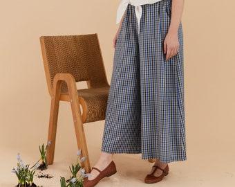 Light blue checkered cotton flattering Wide Leg Pants, palazzo pants, pleated trousers, wide leg trousers, maxi pants, elegant