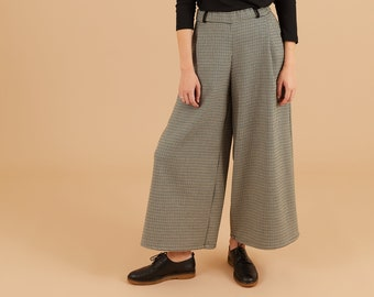 Green and black houndstooth mixed wool Wide Leg Pants, Belt loops zipper, palazzo pants, pleated wide leg trousers, maxi pants