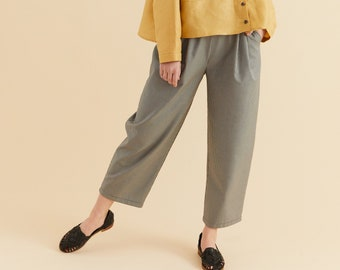 PREORDER- Black and white small check cotton pants, comfort pant, ankle lenght, elastic pants with pockets