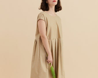 PREORDER - Gold checkered maxi dress in cotton, pleated skirt, overall maxi dress, with pockets, V neck on the back