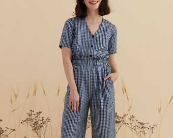 Jumpsuit in in light blue checkered cotton, short sleeves overall, v neck, romper Overalls, jumpsuit handmade, vintage inspired