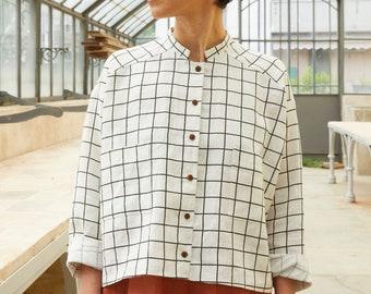 XS/S, M/L- White checkered certified linen mandarin collar Blouse,OEKO TEX, corozo buttons, vegan, plastic free oversize blouse, Long sleeve