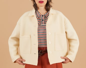 PREORDER- White boiled wool Jacket, raw cut, collar Blazer, oversize blazer with pockets, Long sleeves, Comfort fall jacket