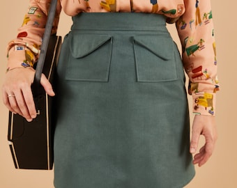 PREORDER- Sage green flared skirt in cotton, above the knee length, mini skirt, big pockets, elastic waistband