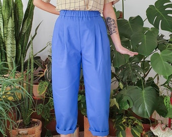 PREORDER- Bright electric blue cotton pants, comfort pant, ankle lenght, elastic pants with pockets, made to order