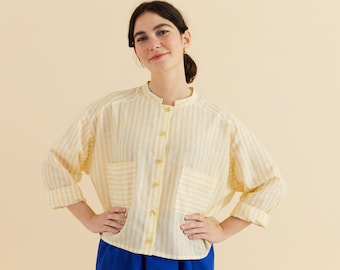 S/M- Striped white and light lemon yellow mandarin collar Blouse, oversize blouse, Long sleeves with cuff, Comfort big pockets