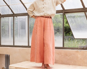 XS/S -Apricot pink Sustainable linen Wide Leg Pants, OEKO TEX linen, palazzo pants, pleated trousers, wide leg trousers, maxi pants
