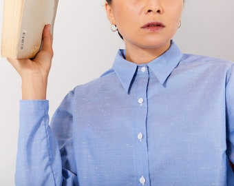 XS/S, M/L-Collar Blouse in light blue italian cotton, Long sleeves blouse, Comfort blouse, collared, buttons