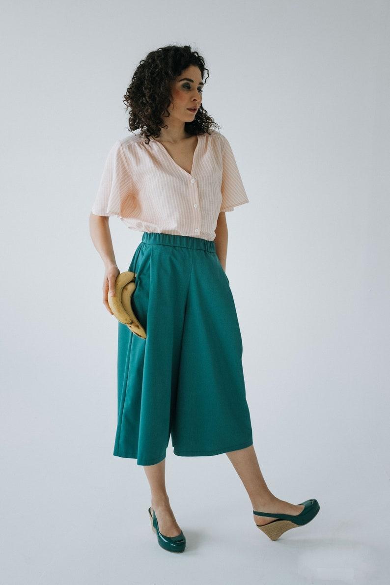new styles 18a21 a004f Gonna pantalone in cotone verde, con tasche, mezza gamba, gamba ampia,  gonna pantalone primavera estate