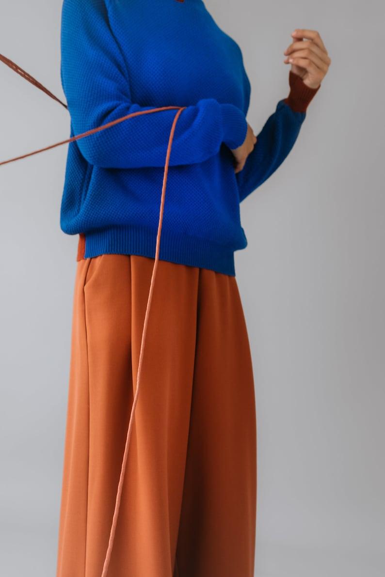 PREORDER- Rust Orange wool fabric Palazzo Pants pleated trousers maxi pants Wide Leg wide leg trousers palazzo pants