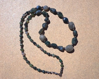 SALE, Moss Agate Necklace, Mossy Green Graduated Gemstone Beads and Nuggets with Gunmetal Plated Beads and Findings, 20% OFF