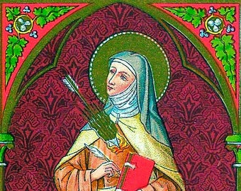 """Icon St Teresa of Avila 5"""" X 7"""" Print. Beautiful image of This Great Saint & Doctor of The Church"""