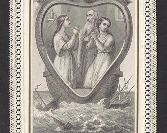"""Antique """"The Heart of Jesus Open To All, The Ark of Health"""" Beautiful Old French Lace Holy Card. """"Let us enter into the Heart of Jesus. . ."""""""