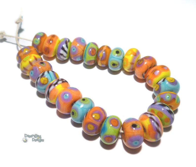 Coral Turquoise Blue Purple Yellow Green Black White ALL THAT JAZZ Handmade Lampwork Beads Organic Rounds