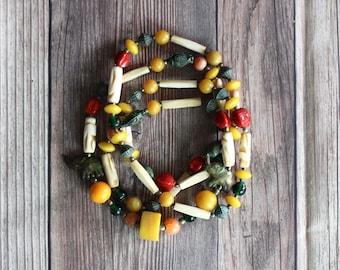Strung With Care - Vintage Beaded Necklace - Bakelite - Brass - Elephants - Bone - Jewelry