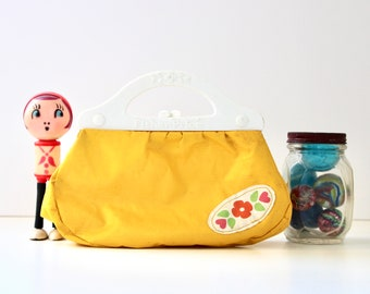 Just Like Mommy - Vintage Fisher Price Kiss Lock Purse - Yellow - Retro - Flowers - Mod - Dress Up - Kids