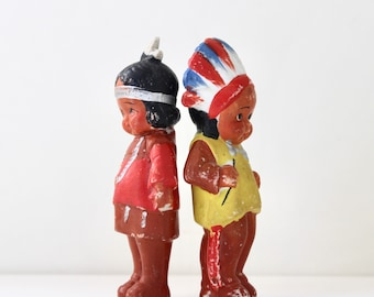 One Little Two Little Indians - Frozen Charlotte Native American Dolls - Figurines - Collectible - Made in Japan