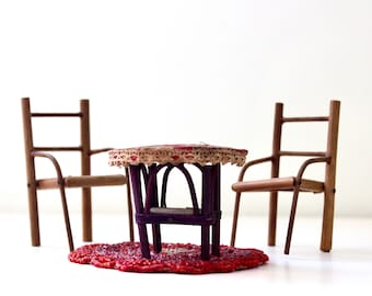 Table for Two - Vintage Dollhouse Table and Chairs - Miniature Furniture - Made in Japan - Floral