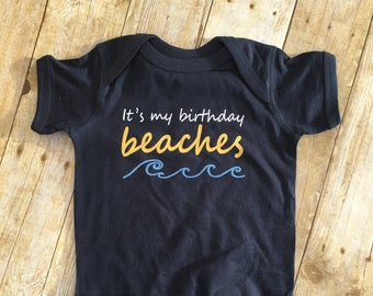 It's my Birthday Beaches. Nautical themed birthday. Ocean themed birthday. First birthday one-piece. Second birthday shirt.  Fast shipping!