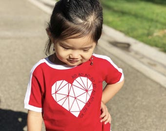 Geometric heart. Valentine's Day shirt. Valentines Kids shirt. Low poly heart shirt. XOXO shirt Infant, toddler and youth sizes!