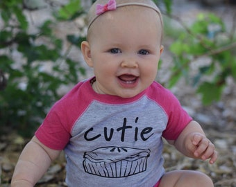 Cutie Pie. Cutie pie one-piece. Cutie pie shirt. Foodie one-piece. newborn baby girl gift. Baby shower gift.  Fast shipping!