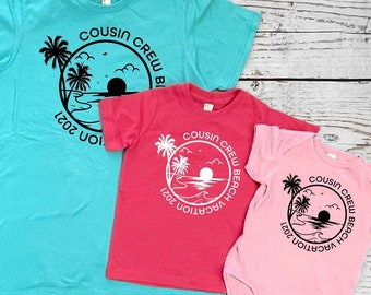 Cousin Crew Beach Vacation shirts. Family Vacation Shirts. Customizable family vacation shirts. Camping shirts. Reunion shirts