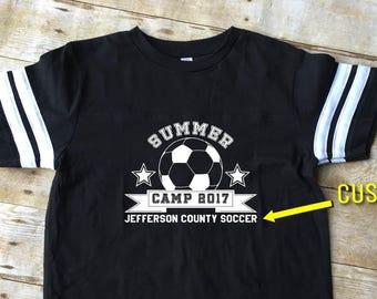 Soccer Camp shirt. Summer Camp shirt. Toddler, Youth, Adult sizes. Customizable Soccer Camp shirt. Group Shirts