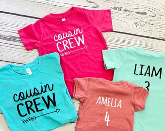 Cousin Crew shirt, Personalized | Name and Birth Order Cousin Crew shirts | Newborn - 3XL | Made to order | Family Matching shirts