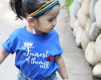 Fairest of them all shirt. Infant, toddler and youth sizes. Snow white shirt. Fairest of them all. Princess shirt. Kids snow white shirt.