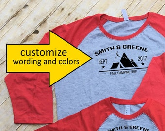 Family Camping shirts. Family Vacation Shirts. Customizable Group shirts. Camping shirts. Tent & Moutains. 3/4 sleeve
