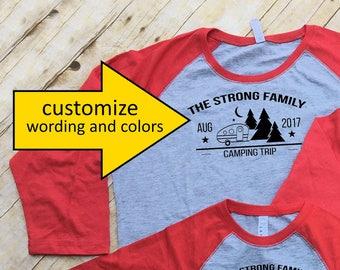 Family Camping shirts. Family Vacation Shirts. Customizable Group shirts. Camping shirts. Camper and trees. 3/4 sleeve