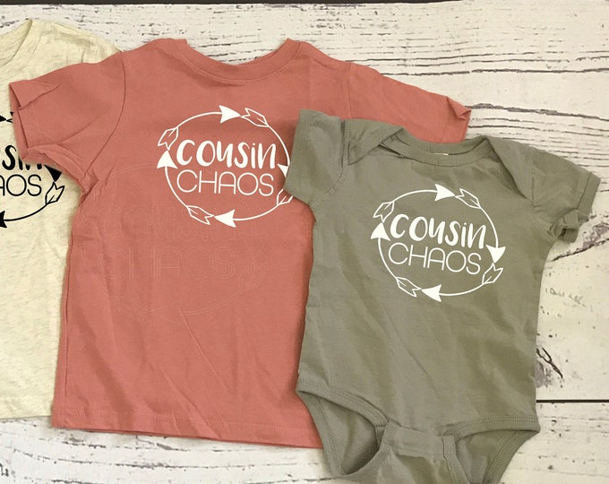 Featured listing image: Cousin Chaos Shirts. Cousin Crew. Cousin tribe. NAMES / NUMBERS is Extra: link in item description! Ships in 4-7 Business days!
