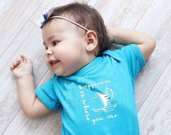 Happiness is where you are Infant bodysuit. Moana Baby. Moana, Ocean shirt. Vacation shirt. Moana kids shirt. Ocean Baby.
