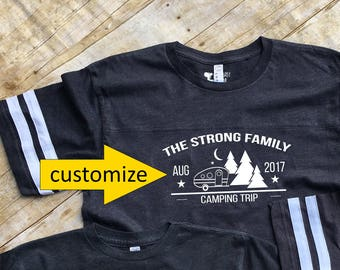 Family Camping shirts. Family Vacation Shirts. Customizable Family Vacation shirts. Camper and Trees Camping shirts.