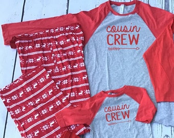 Cousin Crew Sweater Flannel Christmas Pajama sets | 6M to Unisex 2XL | Family Pajama Sets | Holiday Pajama sets | Family Reunion Shirts
