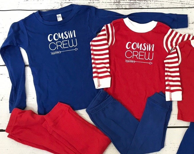 Featured listing image: Cousin Crew Pajamas. Red White and Blue. The Original Cousin Crew Infant and toddler sizes 6 - 5/6 Cousin Pajama sets. Family Reunion Shirts