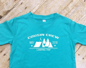 Cousin Crew Camping shirts. Family Vacation Shirts. Customizable family vacation shirts. Camping shirts. Tent and Trees. Reunion shirts