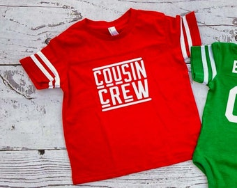 Red Cousin Crew team shirt with Name & Number on Back. The original Cousin Crew Personalized shirt. Family reunion shirts. Red