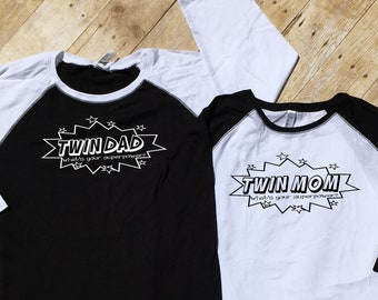 Twin mom What's your Super Power? shirt. Twinmom/ Twindad shirt. Mother/Father of twins gift. New parent gift. Mom of Multiples.