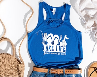 Lake Life tank top. Lake life cause beaches be salty. Lake vacation shirts. Family Vacation. The Lake is my happy place. Womens Flowy tank