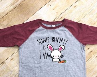 Some Bunny is Two. Second Birthday shirt. Bunny shirt.  Cute kids birthday shirt. 3/4 sleeve Raglan. Second Birthday. Fast shipping!