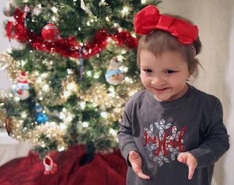 Kids Holiday shirt. Joyful snowflake. Long sleeve one-piece or shirt. Christmas one-piece. Holiday one-piece. Fast shipping!