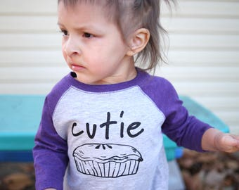Cutie Pie shirt. Girls 3/4 Sleeve Raglan shirt. Toddler & Youth 2T-XL. 8 color options! Foodie Shirt. Fast Shipping!
