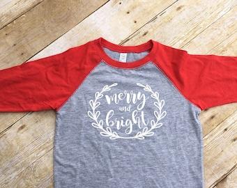 Merry And Bright shirt. Christmas 3/4 Sleeve Raglan shirt. Toddler & Youth 2T-XL. 8 color options! Christmas shirts. Fast Shipping!