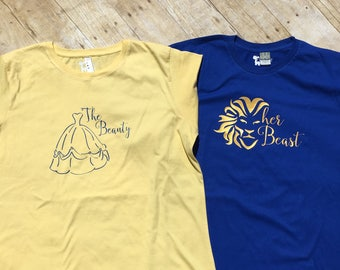 The Beauty Her Beast. Mr and Mrs set. Beauty and the Beast Husband and wife set. Matching Shirt Set.