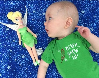 Never Grow Up!  Peter Pan one-piece. Peter Pan infant bodysuit. Peter Pan Never Grow Up.  Neverland shirt. Lost Boys Club. Fast shipping!